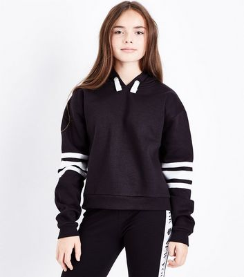 Teens Black Triple Stripe Sleeve Hoodie