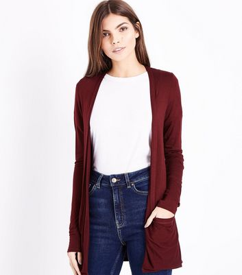 Tall Burgundy Double Pocket Cardigan