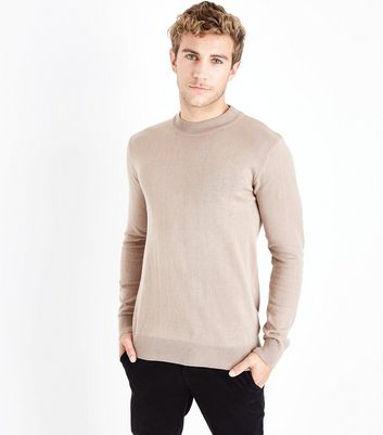 Camel Cotton Funnel Neck Long Sleeve Top
