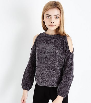 Teens Dark Grey Chenille Cold Shoulder Jumper