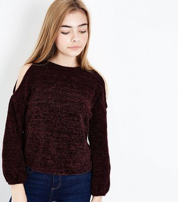 Teens Burgundy Chenille Cold Shoulder Jumper