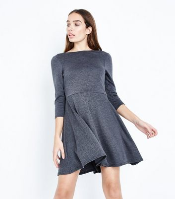Grey Scoop Back Skater Dress