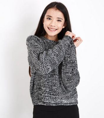 Teens Black Marl Boxy Knit Jumper