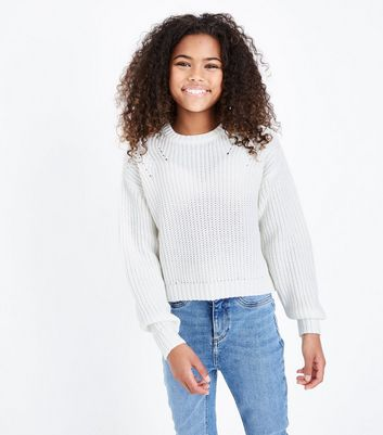 Teens Cream Boxy Knit Jumper by New Look
