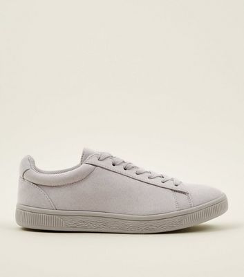 Grey Faux Suede Lace Up Trainers by New Look