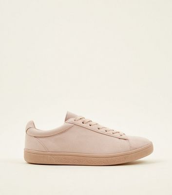 Cream Faux Suede Lace Up Trainers