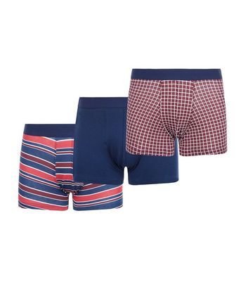3 Pack Red Stripe and Check Print Trunks