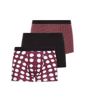 3 Pack Burgundy Geometric and Spot Print Trunks