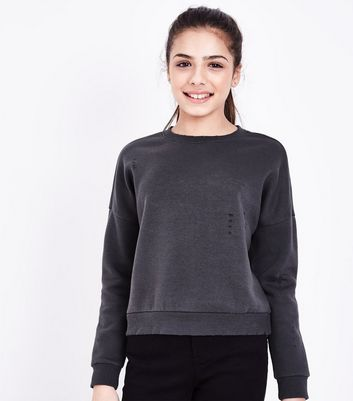 Teens Dark Grey Ripped Sweatshirt