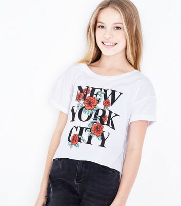 Teens White Floral New York City Slogan Crop Top