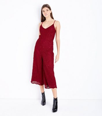 Cameo Rose Red Lace Culotte Jumpsuit
