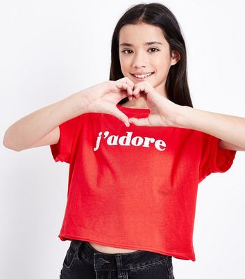 Teens Red J'adore Print Crop T-Shirt