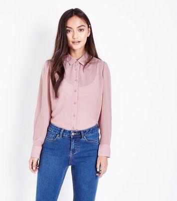 ... Petite Pale Pink Step Hem Chiffon Shirt