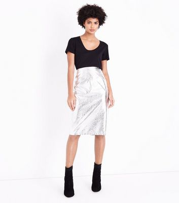 Silver Crackle Leather-Look Midi Skirt