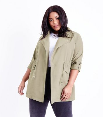 Curves Olive Waterfall Shacket