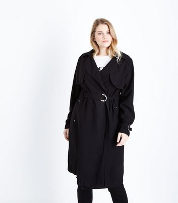 Curves Black D-Ring Belted Longline Mac