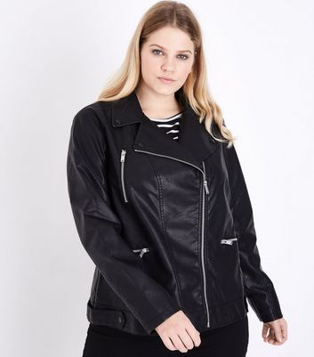 Curves Black Oversized Leather-Look Biker Jacket