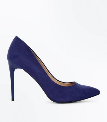 Navy Suedette Stiletto Heel Pointed Courts