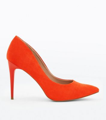 Bright Orange Suedette Stiletto Heel Pointed Courts