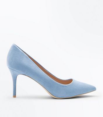 Pale Blue Suedette Pointed Court Shoes
