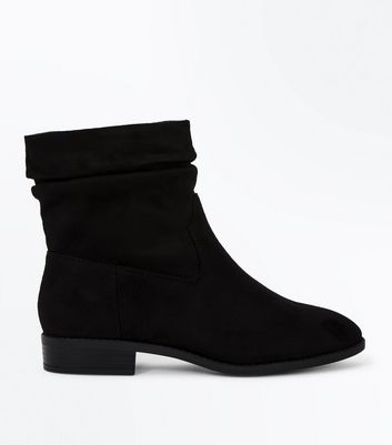 Wide Fit Black Suedette Slouch Calf Boots