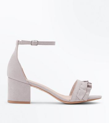 Wide Fit Grey Frill Strap Low Block Heel Sandals