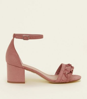 Wide Fit Pink Frill Strap Low Block Heel Sandals