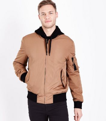 Camel Hooded Bomber Jacket