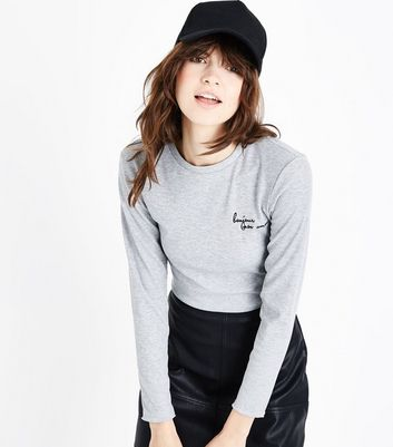 Grey Bonjour Mon Amour Embroidered Slogan T-Shirt