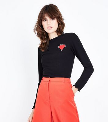 Black Heart Logo Ribbed Long Sleeve T-Shirt