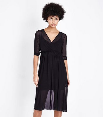Black Mesh Ribbon Back Midi Dress