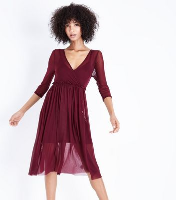 Burgundy Mesh Ribbon Back Midi Dress