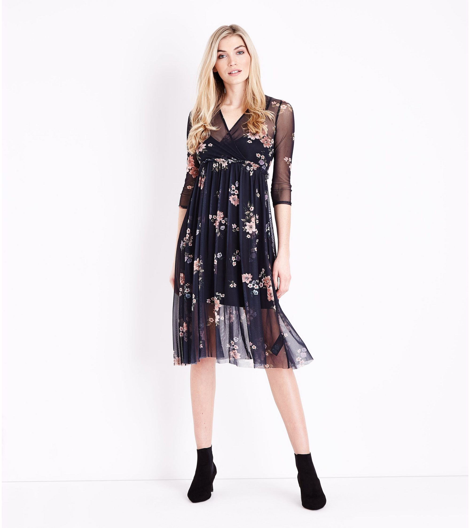 1e942713a05 Black Floral Print Mesh Wrap Front Midi Dress New Look – DACC