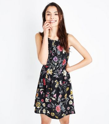 Black Floral Shirred Waist Dress