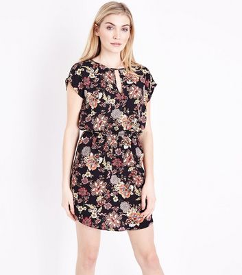 Black Floral Print Keyhole Front Dress
