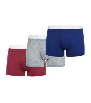 3 Pack Grey Red and Blue Trunks