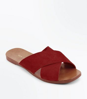 Wide Fit Red Suede Cross Strap Sliders