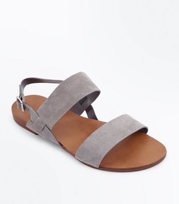 Wide Fit Grey Suede Double Strap Sandals