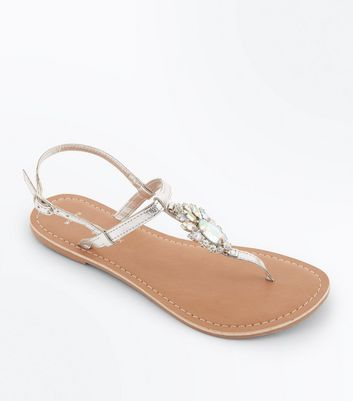 Wide Fit Silver Leather Brooch Sandals