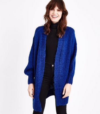 Bright Blue Balloon Sleeve Longline Cardigan