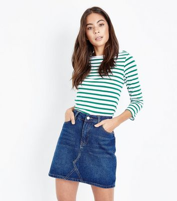 Blue Rinse Wash Denim Mini Skirt