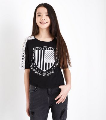 Teens Black Boston Slogan Crochet Sleeve T-Shirt