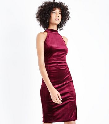 Burgundy Velvet High Neck Bodycon Dress