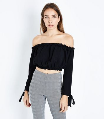 Black Gathered Bardot Neck Crop Top