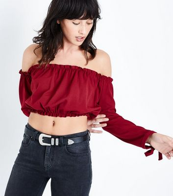 Burgundy Gathered Bardot Neck Crop Top
