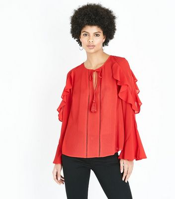 Red Tassel Tie Neck Frill Sleeve Blouse