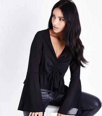 Black Crepe Ruched Front Bell Sleeve Top