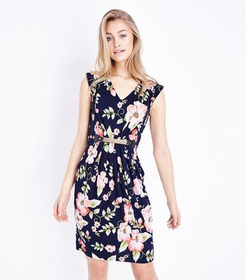 Mela Navy Floral Metal Belted Dress by New Look