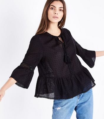 Black Spot Textured Tassel Front Bell Sleeve Top