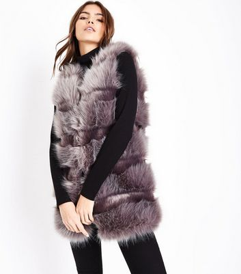 Grey Pelted Faux Fur Gilet